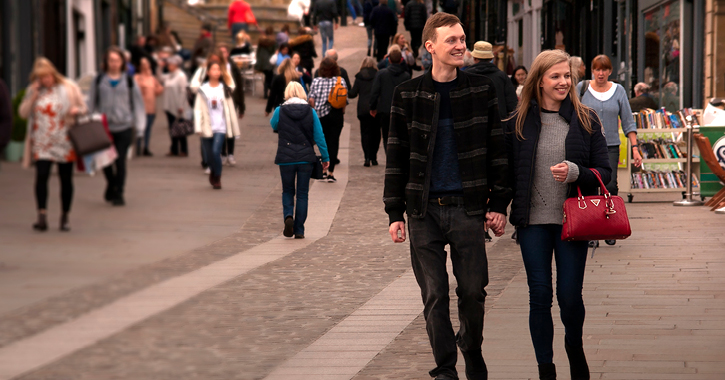 Couple shopping in Durham City in County Durham