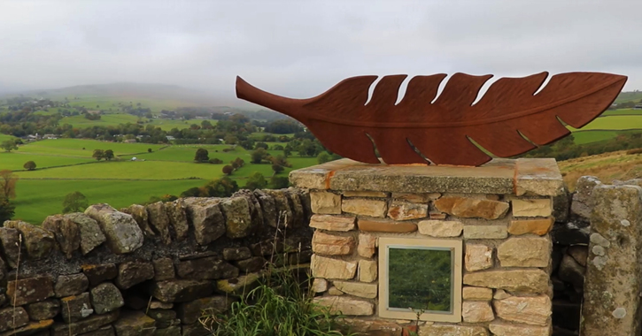 Air 'the feather' artwork overlooking Middleton-in-Teesdale, County Durham