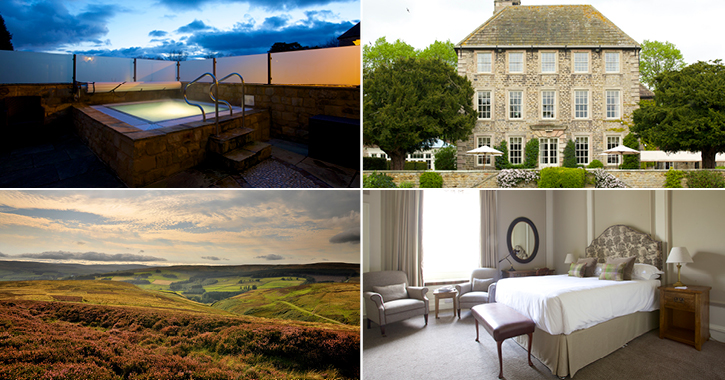 Headlam Hall spa, hotel and bedroom in the durham dales.