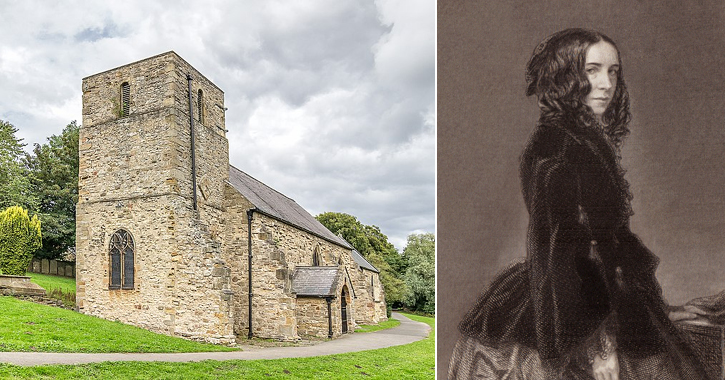 St Helen's Church in Kelloe and poet Elizabeth Barrett Browning