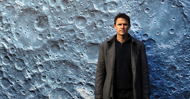 UK artist luke Jerram with his moon artwork