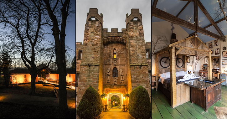 Ramside treehouses, Lumley Castle Hotel and themed room at South Causey Inn.