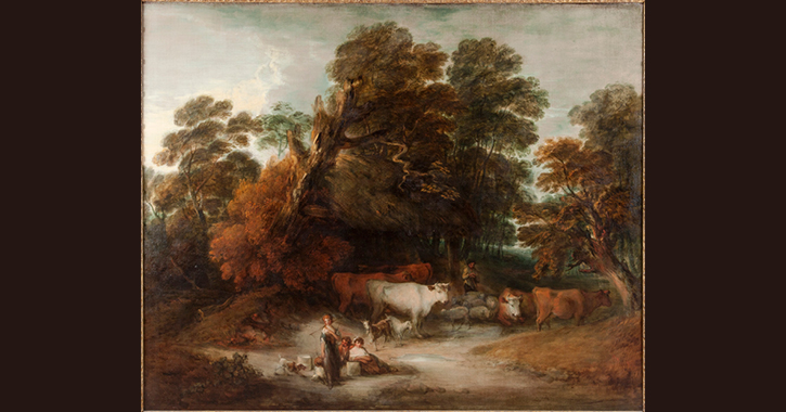 Wooded Landscape with a Milkmaid, Rustic Lovers, and a Herdsman by Thomas Gainsborough  c.1775–1777
