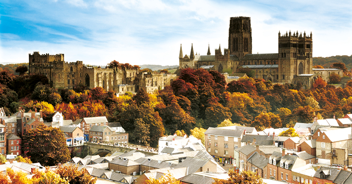 Durham City peninsula during Autumn