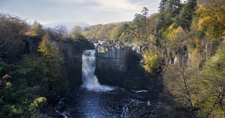 View of High Force Waterfall, County Durham during autumn season.