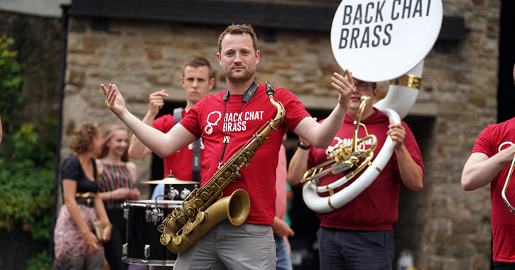 Back Chat Brass band performing in Durham City