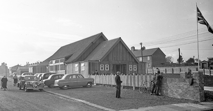 The original Leasingthorne Colliery Welfare Hall and Community Centre in 1957.
