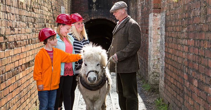 Family with a pit pony at Beamish Museum Drift Mine