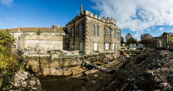 The site of an archaeological excavation of Bishop Antony Bek's Chapel at Auckland Castle, Bishop Auckland.