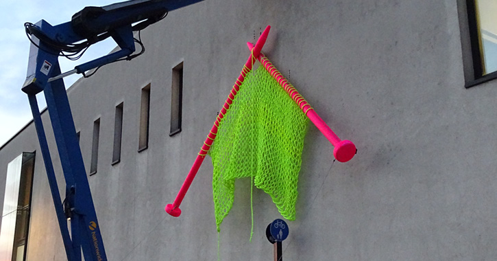 Big Knitting being installed in Lumiere Durham, 2015. Photo by the artist.