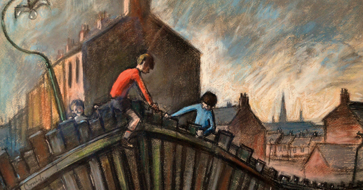Boys Climbing Fence by Norman Cornish