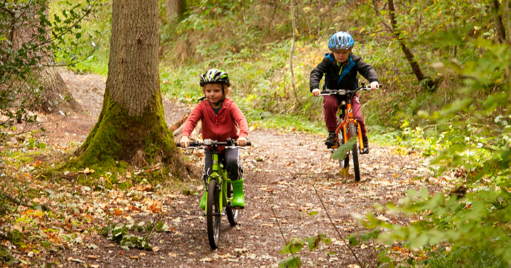 two boys riding bikes in Hamsterley Forest, County Durham.