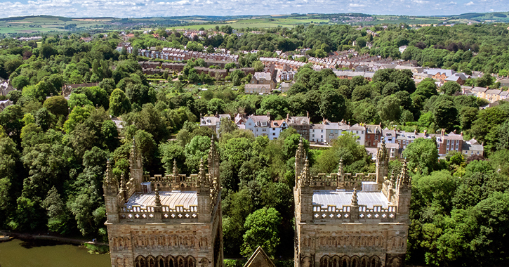 The view from the Central Tower, overlooking the North West Tower of Durham Cathedral