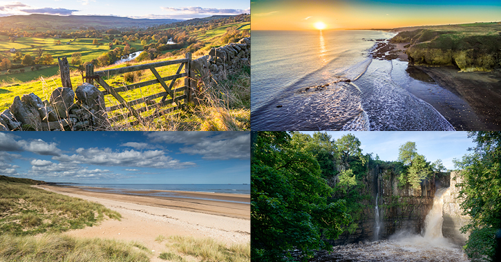 Landscape images of Durham Dales countryside and Durham Heritage Coast beaches