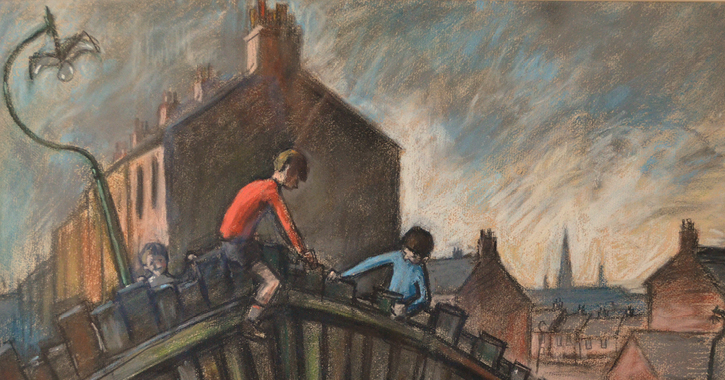 boys on a fence by Norman Cornish