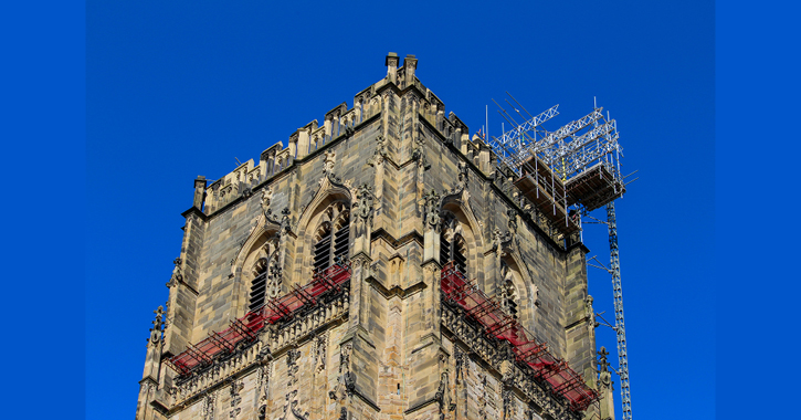 scaffolding on Durham Cathedral central tower
