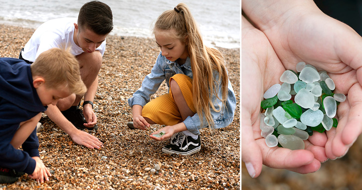 children collecting seaglass on the Durham Heritage Coast