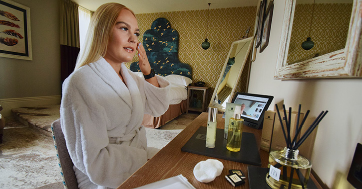woman enjoying in-room pamper session at Seaham Hall Hotel