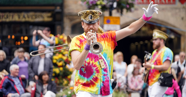 Mr Wilson's second liners perform in Durham City market place