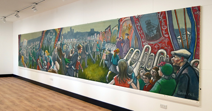 Norman Cornish Miners Gala Mural on display at Bishop Auckland Town Hall