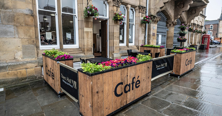 Outside of Bishop Auckland Town Hall cafe