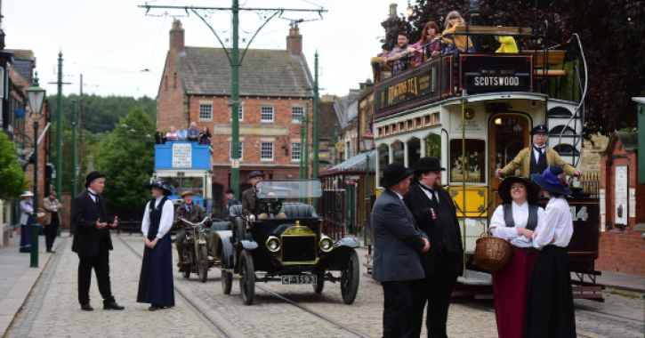 The main street in the 1900s town at Beamish Museum