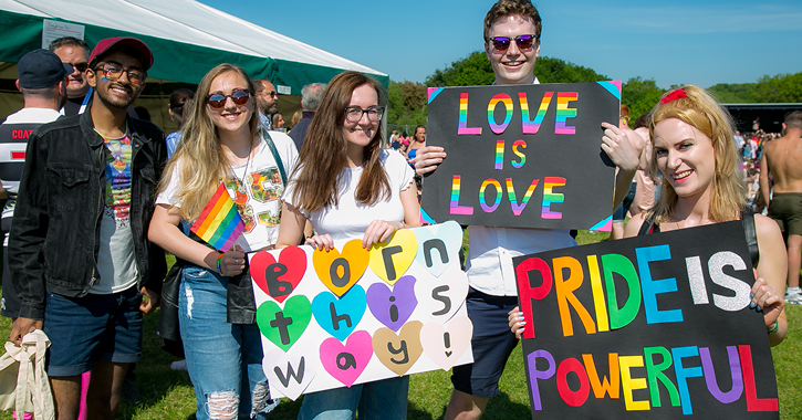 people showing their pride at Durham Pride in 2018