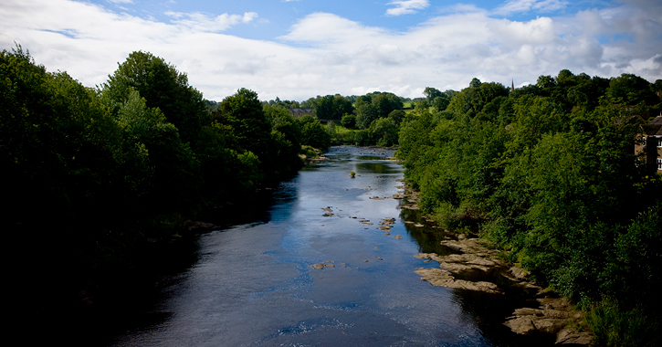 View of River Tees at Barnard Castle, County Durham.