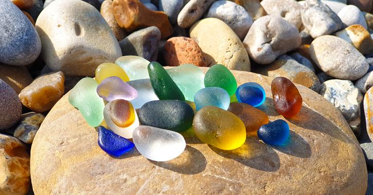 Seaham Sea glass on a stone