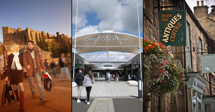 couple shopping in Durham City, Entrance to Dalton Park and shops at Barnard Castle