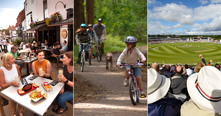 left to right - friends eating at Tango restaurant, family bike ride and crowds watching cricket at Riverside stadium.