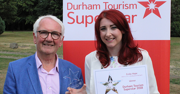 Emily Hope Durham Tourism Superstar and Ivor Stolliday, chairman of Visit County Durham