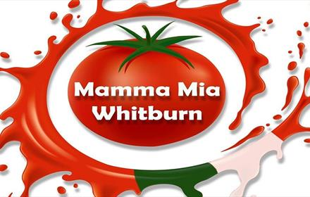 Mamma Mia logo - red tomato with Mamma Mia Whitburn wording