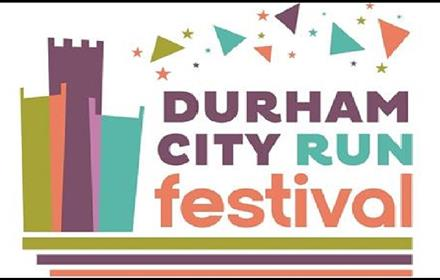 Durham City Run Festival 2021 logo. Modern Graphic Image of Durham Cathedral