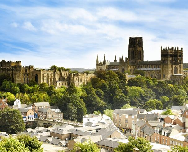 City landscape of Durham with the Cathedral and Castle in the background.