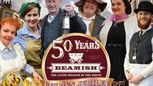 Beamish Museum golden jubilee logo and costumed staff