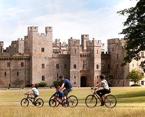 family cycling at raby castle