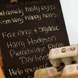 Locally sourced eggs at The Farm Shop Wynyard Hall Gardens