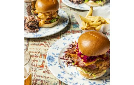 The Golden Dame burger at Cosy Club Durham