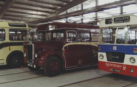 A selection of classic buses displayed at Locomotion