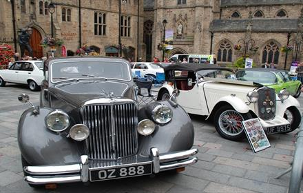 Classic cars in Durham Market Place