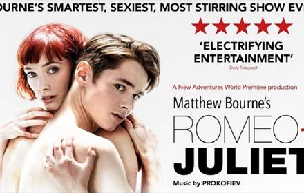 Romeo + Juliet advertising poster with image of a man and a woman