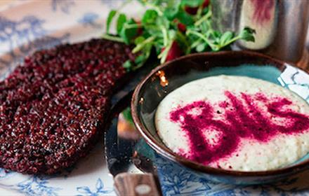 Bill's in Durham City delicious Vegan Beetroot Steak.  Served with a portion of fiery tiger fries, béarnaise vegan mayo & pea shoots