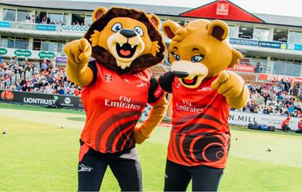 River and Chester the Durham County Cricket Club mascots