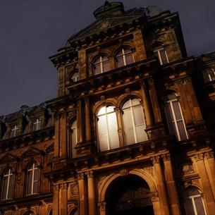 The Bowes Museum at night