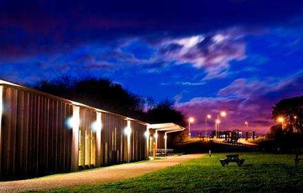 Hardwick Park Visitor Centre at night