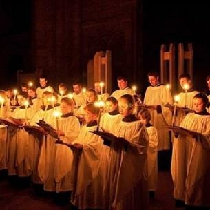 Durham Cathedral Choir singing in candle light