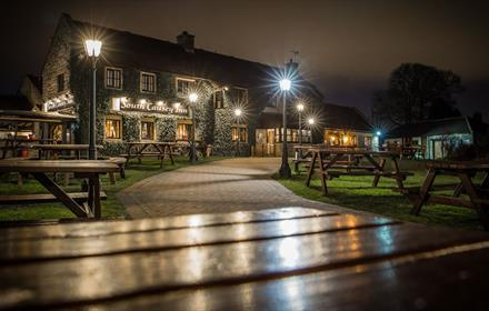 South Causey Inn beer garden at night